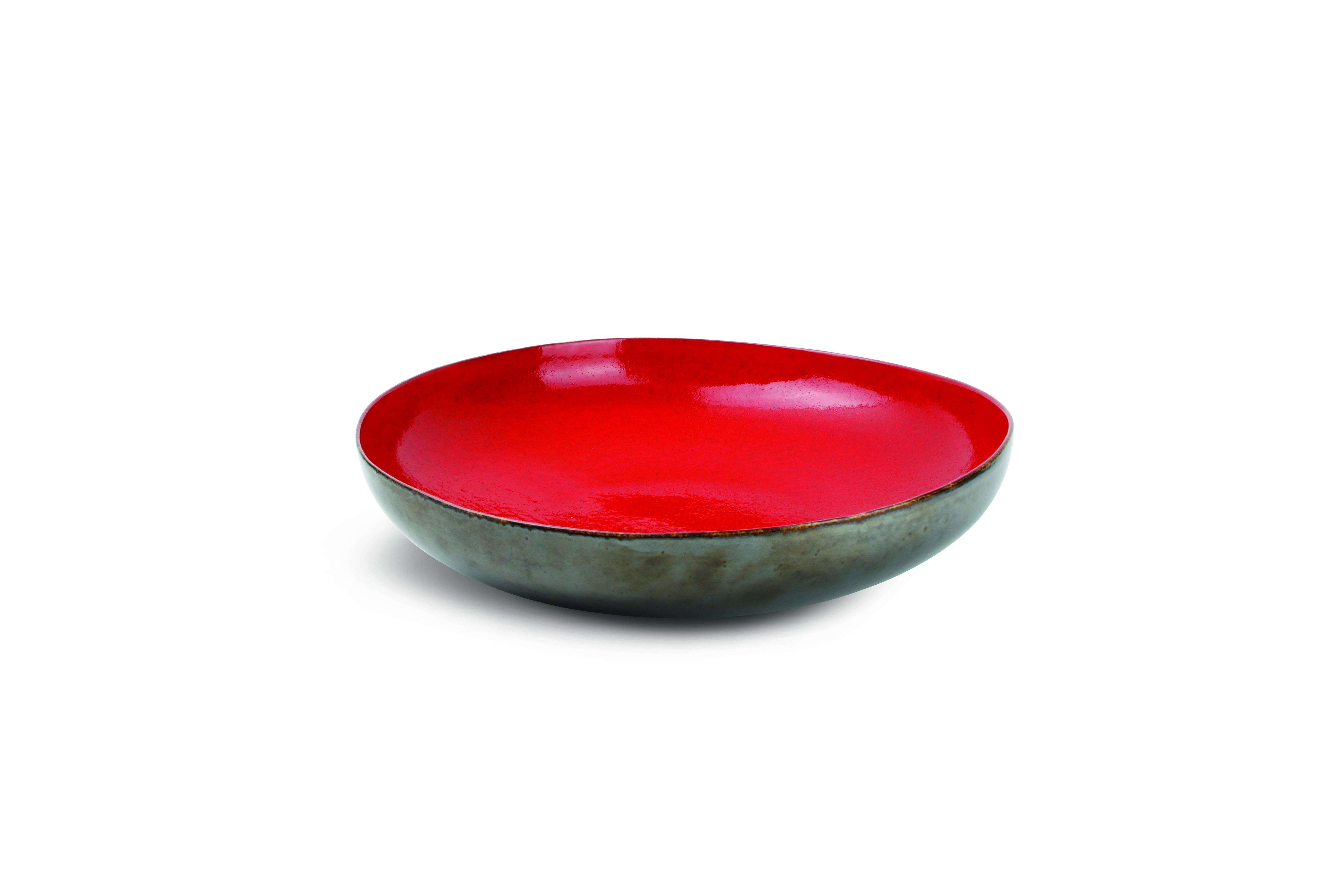 Buffetschaal rond 36 cm, 8.5 hoog, rood/zilver Chic