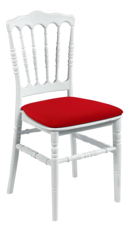 Napoleon stoel in wit gelakt hout met rood kussen