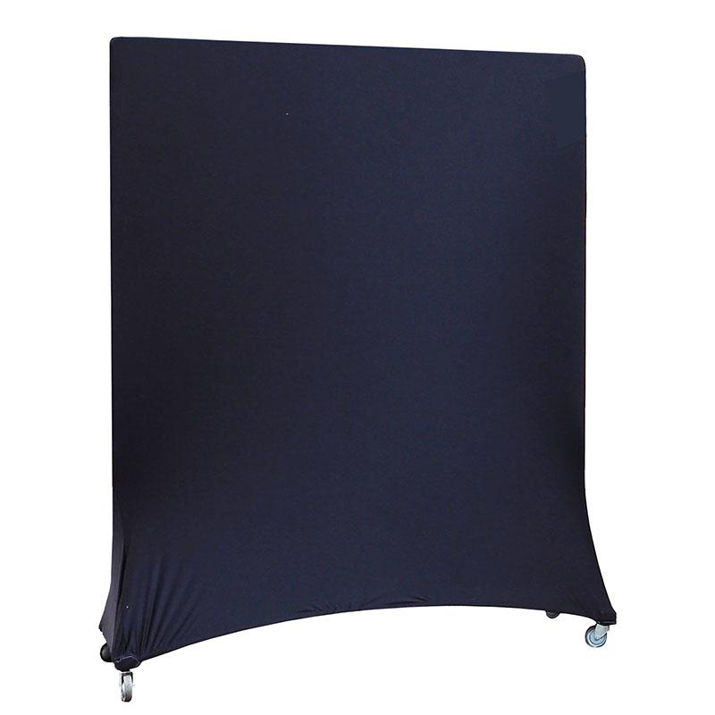 Windscherm op wieltjes met stretchhoes 155 x 175 H,zwart